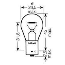 PY21W (7507)* Лампочка желтая одноконтактная12V 21W OSRAM (Германия)